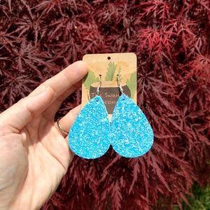Light Blue/Pink Glitter Teardrop Earrings